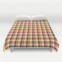 Navy Sunset Plaid Duvet Cover by Kat Mun