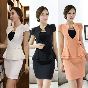 Summer Novelty Female Skirt Suits for Women Business Suits Formal Office Suits Work Wear Blazer Sets Beauty Salon Uniforms [8833580492]