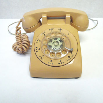 80's Peachy Beige Telephone Rotary Desktop Phone