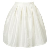 White High Waisted Skater Skirt