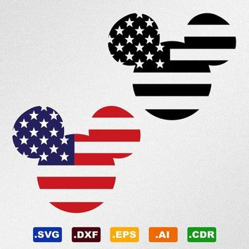 Mickey Mouse USA Flag Svg, Dxf, Eps, Ai, Cdr Vector Files for Silhouette, Cricut, Cutting Plotter