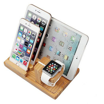 Apple Watch With phone/Pad/ Charing Stand, SR 3-in-1 Bamboo Wood Desk Charging Stand Bracket Station Platform Holder Pen Holder for Apple Watch iPhone iPad and Other Phones Tablets