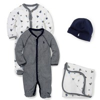 Ralph Lauren Childrenswear Baby Boys Newborn-9 Months Coverall, Blanket, Beanie Layette Collection | Dillards