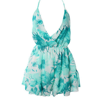 The Ultimatum Romper - White and Teal Floral Print Playsuit