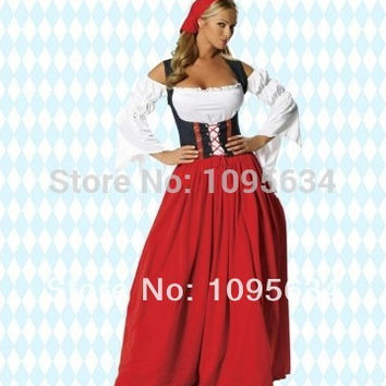 Free Shipping PLUS Sz LONG Red Oktoberfest Beer Maid Peasant Dress Costume German Wench S-6XL