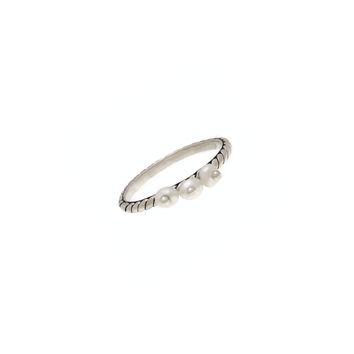Love Letters Beauty Sterling Silver Pearl Stack Ring