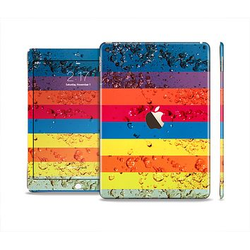 The Rainbow Colored Water Stripes Skin Set for the Apple iPad Pro