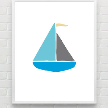 8x10 Printable Nursery Wall Art, Nautical Baby Boy Digital Wall Art Print, Instant Download Nursery Decor, Kids Room Wall Art Decor