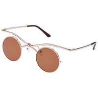 ROMWE Iridescent Gold Round Sunglasses