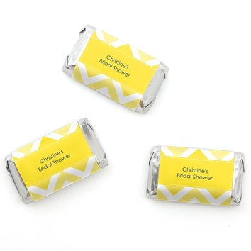 Chevron Yellow - Personalized Bridal Shower Mini Candy Bar Wrapper Favors - 20 ct