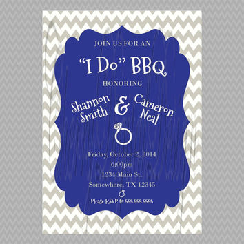 Custom printable I Do BBQ Invitation. Blue, Gray, White rehearsal dinner invitation. Wedding, rehearsal dinner, engagement party invite