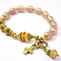 Golden Akoya Fresh Water Pearls, Rosary Bracelet, Prayer Beads, Gold colored Cross and Accents, Swarovski Crystals