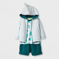Baby Boys' 3pc Set Hooded Sweatshirt, Short Sleeve T-Shirt, and Shorts - Cat & Jack™ Teal