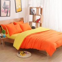 Plain Color Bedding King Duvet Cover Set Bed Linen Bedding Sets  Russia USA Size,Quilt cover set Super King bedclothes Yellow