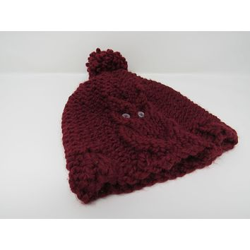 ef7c21aeaea Handcrafted Knitted Hat Beanie Cranberry Acrylic Wool Owl Pom Po