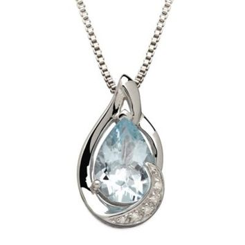 Sterling Silver .01 cttw Diamond and Aquamarine 18-Inch Chain Pear-Shape Pendant Necklace