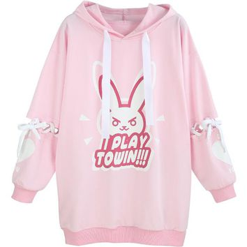 Game OW Figure D.VA DVA Cotton Fleece Hoodie Tied Long sleeve Dress Pullover cosplay costume Winter Coat NEW