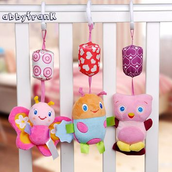 Abbyfrank Soft Baby Toy BB Rattle Stroller Plush Early Doll Newborn Cute Cartoon Animal Hanging Plush Toy For 0-12 Years Baby