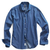Newman Unwashed Denim Shirt in Dark Indigo