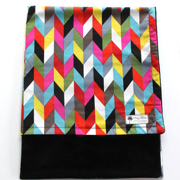 Multicolor Chevron Blanket, Minky Baby Blanket, Black Minky Blanket, Modern Nursery