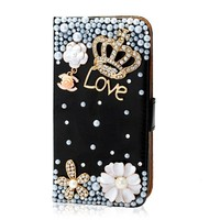 Mavis's Diary Bling Crystal Crown Rhinestone Flower Pearl Diamond Design Sparkle Glitter Leather Wallet Type Magnet Flip Case Cover for Samsung Galaxy S4 9500 9505 M919 SGH-i337 Galaxy S IV SHV-E300S SHV-E300K SHV-E300L (Black)
