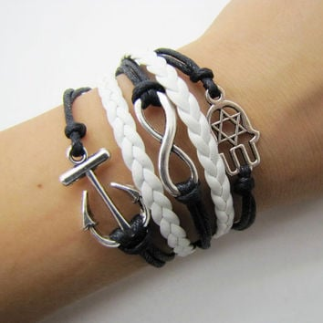 silvery infinity anchor bracelet women multicolor rope bracelet women jewelry bangle  1287A