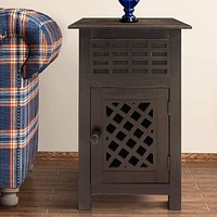 Single Drawer Wooden Side Accent Table with Door Cabinet, Rustic Brown By The Urban Port