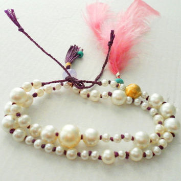 Braided Friendship Bracelet faux pearl double wrap by zurdokero