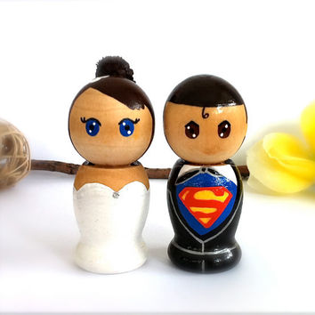 Superman WEDDING CAKE TOPPER Custom Cake Topper Superhero Kokeshi Doll Super Hero Wedding Cake Toppers Clark Kent and Lois Lane Comic Book