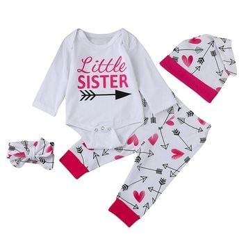4PCS Set Newborn Baby Girl Boy Clothes Long Sleeve Cotton Romper Long Pants Hat Headband Outfits Clothing Bebek Giyim Suit 6-24M