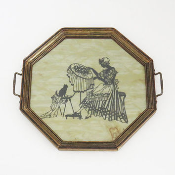 Antique or vintage octagonal wooden serving tray vanity tray jewelry tray with antique-brass bronze handles - silhouette of woman and cat