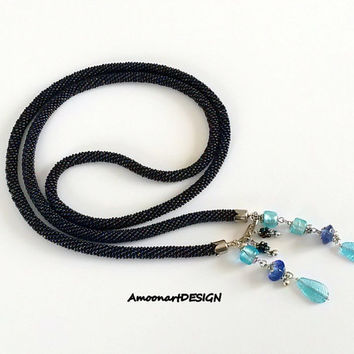 Blue Bead Crochet Necklace, Long Rope, Blue Rope Necklace, Seed Bead Rope Necklace, Glass Bead Necklace, Plus Size Blue Necklace ( N - 11 )