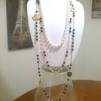 Stunning Designer Old Hollywood Glam Statement Pearl Necklace