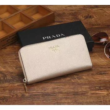 PRADA Zipper bag Women Leather Purse Wallet