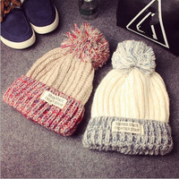 2015 New Product    Winter Style  Spring   Wool  Patchwork Line  Ball  Knitting Upset  Warm  Hats For  Women  Beanie  Hat