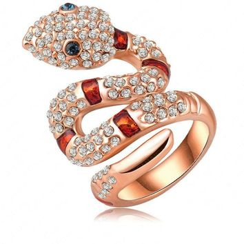 LZESHINE Women Rose Gold Plated Punk-Pop 3D Snake Austrian Crystal Engagement Rings for Women Punk Jewelry