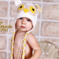 White Crochet Owl Knit Hoot Baby Hat Photo Prop - CCA01