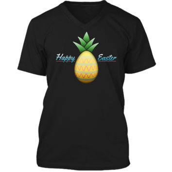 Happy Easter Pineapple Disguised Egg T-Shirt Mens Printed V-Neck T