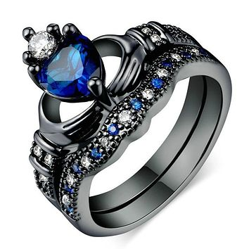 Crystal Heart Crown Rings For Women
