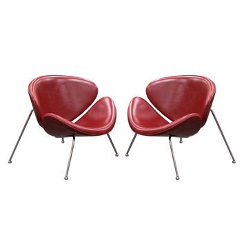set of 2 roxy vintage red accent chair with chrome frame