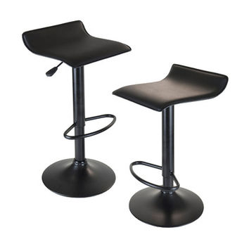 Winsome Wood 20239 Obsidian Airlift Stool Adjustable Swivel Backless Black Seat & Base
