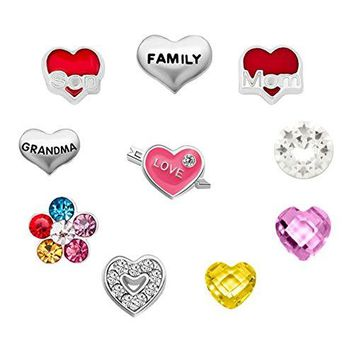 CharmsStory 10 Pcs Mom Son Love Family Floating Charms For Glass Living Memory Lockets Necklace Bracelets