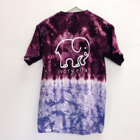 Elephant Print Casual Colorful T Shirt B005412