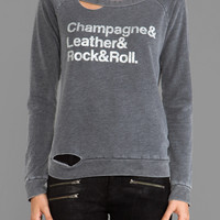 Chaser Champagne & Leather Deconstructed Long Sleeve in Black