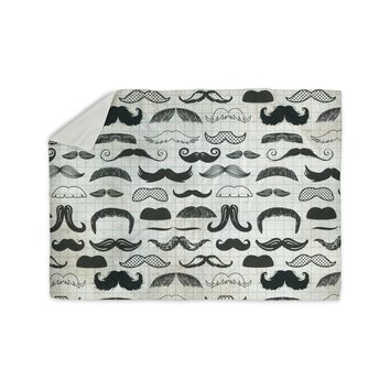 "Heidi Jennings ""Stached"" Gray Black Sherpa Blanket"