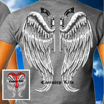 Country Life Outfitters Gray Wings Guns Vintage Unisex Bright T Shirt