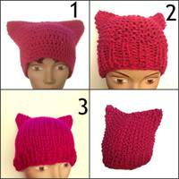 Pink Pussy Hat Crochet or Knit Handmade Women's March