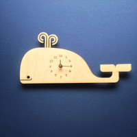 Animal Clock, Children's clock, Child gift, wall decor, Whale of a time, Custom made clock