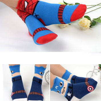 Korean Harajuku Super Fashion 3D Cartoon Batman Captain America Women Cotton Funny Socks Cute Superhero Female Lovely Socks