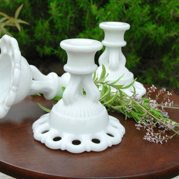 Vintage Westmoreland Milk Glass Candle Holders Doric Open Lace Edge (3 available)